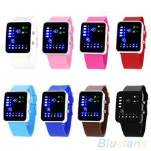 Casual Unisex Binary System LED Square Dial Silicone Band Quartz Wrist Watch oro