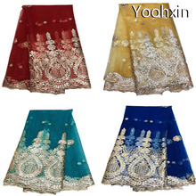 HOT 5 yards sequin african lace fabric Embroidered flower sewing DIY trim applique Ribbon collar dress guipure decor