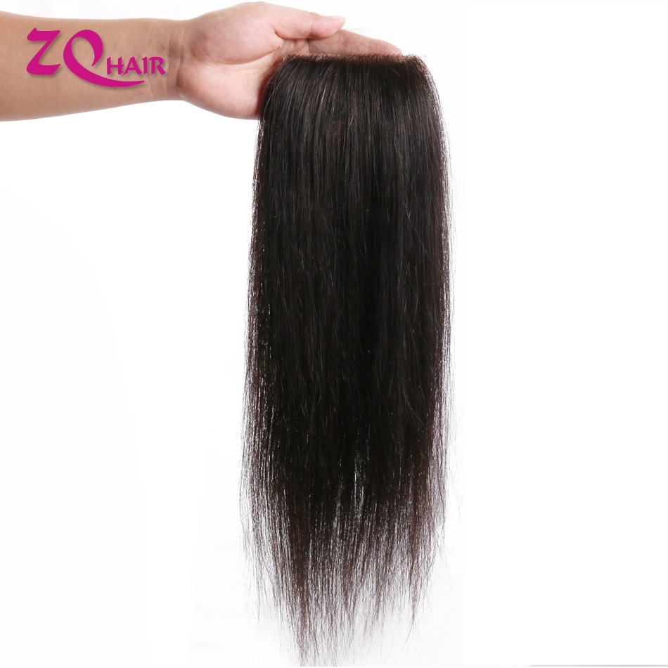 Бразильские Прямые кружевные застежки 10-22 дюйма, свободная часть для женщин, Remy человеческие волосы, искусственная шелковая основа, предвар...