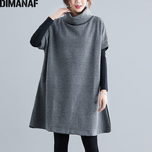 DIMANAF Winter Plus Size Women Sweatshirts Pullovers Female Tops Shirts Turtleneck Big Loose Casual Thick Knitted Clothing
