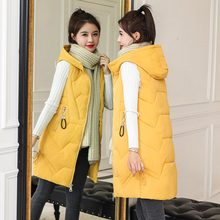 New Brand Winter Womens jacket Windproof Warm Long Cotton Waistcoat Casual Sleeveless hooded femme coat veste PLUS SIZE XS-3XL