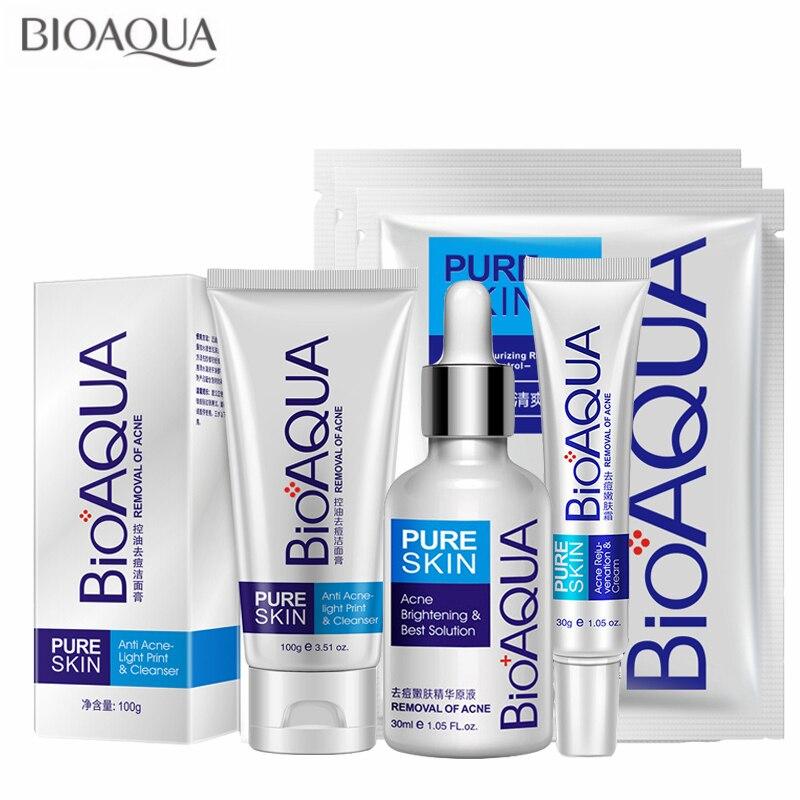 Competent 6pcs Bioaqua Anti Acne Shrink Pores Whitening Treatment Blackhead Scars Anti Acne Removal Gel Moisturizing Scar Face Care Set Online Discount