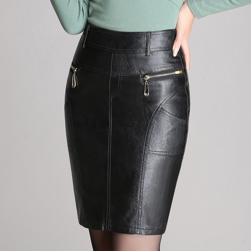 2019 Autumn And Winter Half-length Sheath Women's Leather Large Size Midi-skirt PU Leather Short Skirt Korean-style Slimming Fas