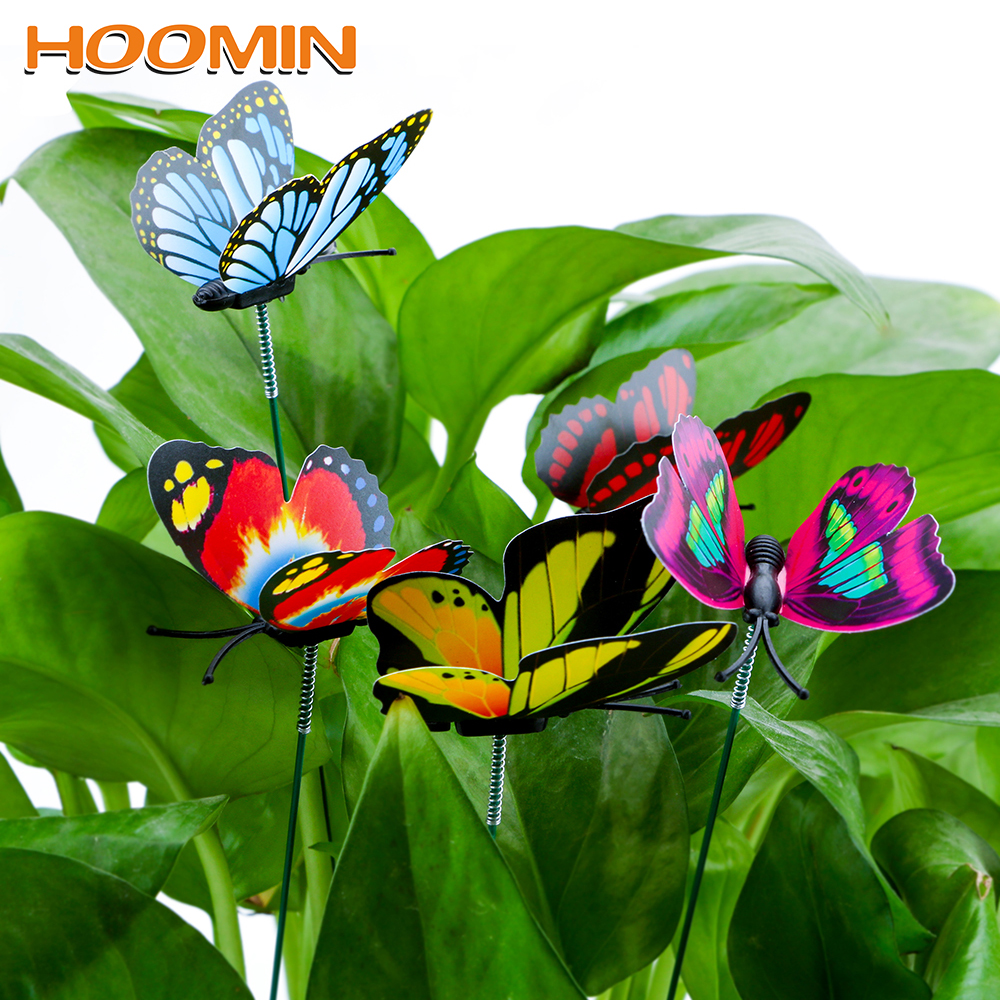 HOOMIN 5 Pcs/Bunch Colorful Butterfly Stakes Butterfly Flower Pots Decoration With Pile Outdoor Decor Garden Supplies