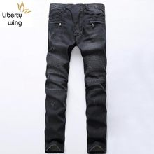 Top Brand Fashion Mens Fit Denim Jongens Slim Biker Broek Skinny Straight Runway Elastische Jeans Broek Blauw Maat 28-42(China)
