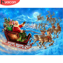 HUACAN Diamond Painting Full Square Christmas Embroidery Santa Claus Cartoon Picture Of Rhinestone