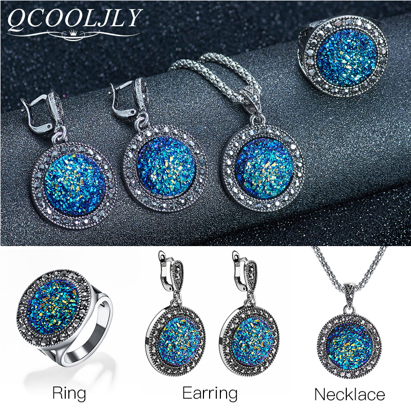 QCOOLJLY Vintage Black Blue Gem Jewelry Sets For Women Antique Crystal Round Stone Pendant <font><b>Necklace</b></font> <font><b>Earring</b></font> <font><b>Ring</b></font> <font><b>Bracelet</b></font> image