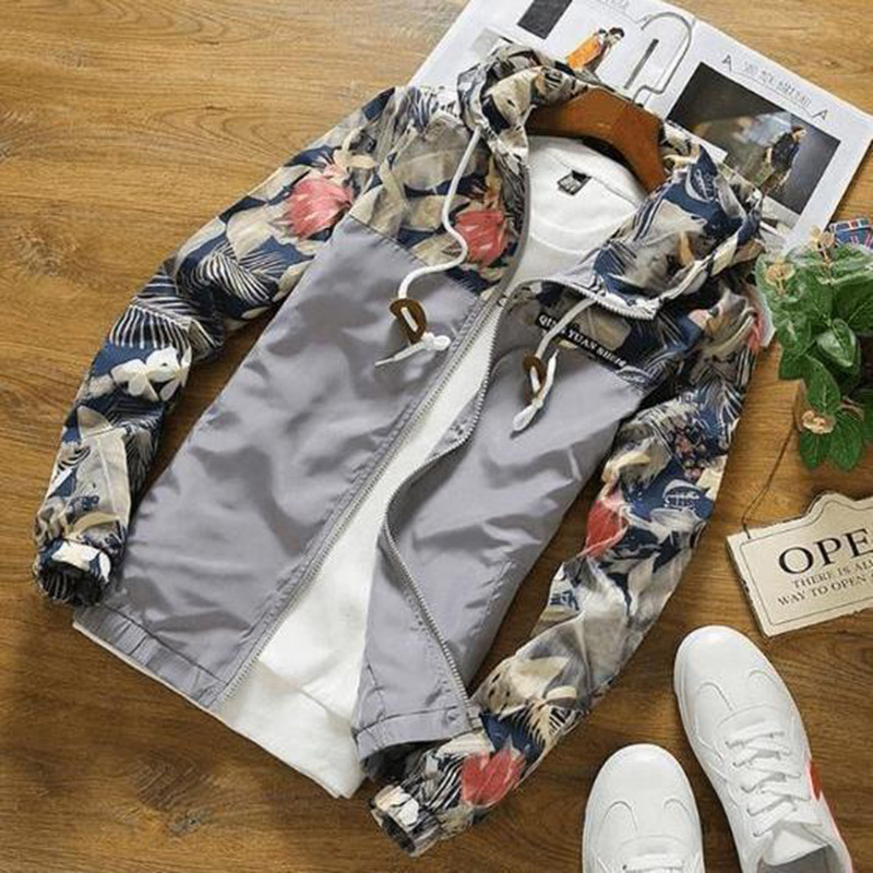 Drop Shipping Florals Bomber Jacket Men Hip Hop Slim Fit Flowers Pilot Jacket Coat Men's Hooded Jackets US Size Free Shipping