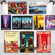 New York Metal Tin Signs Vintage The Wonder City Wall Art Painting Posters USA Flag Bar Pub Retro Statue of Liberty Decor WY103