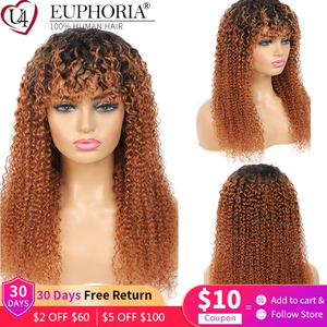 Image 1 - Ombre Brown 30 Kinky Curly Human Hair Wigs Brazilian Remy Hair Full Machine Made Wigs With Bangs Natural Color Wigs Euphoria