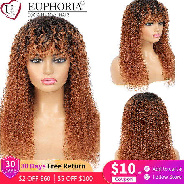Ombre Brown 30 Kinky Curly Human Hair Wigs Brazilian Remy Hair Full Machine Made Wigs With Bangs Natural Color Wigs Euphoria