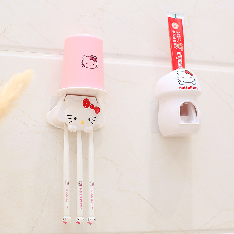 Hello Kitty Cute Toothbrush Set Mouthwash Free-punch Toothpaste Squeezer Wall Shelf Bathroom Children's Toothbrush Cup Holder