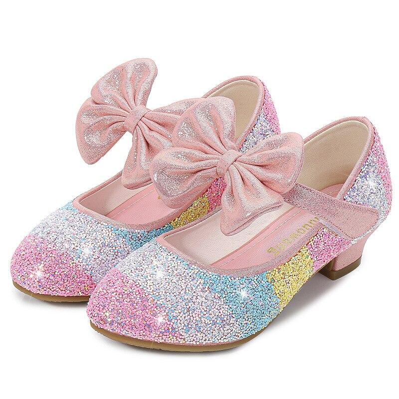 Dziewczęce skórzane buty księżniczka buty dziecięce buty okrągłe Toe miękkie podeszwy duże dziewczynki szpilki księżniczka buty z kryształkami pojedyncze buty
