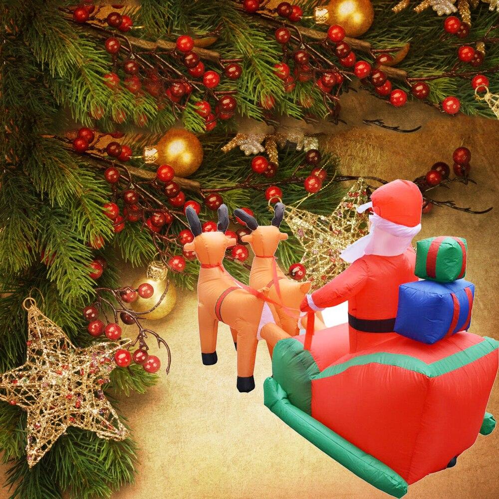 Рождественская надувная тележка с оленем, Рождественская двойная тележка с оленем, Санта Клаус, рождественское платье, украшения, добро пожаловать, реквизит