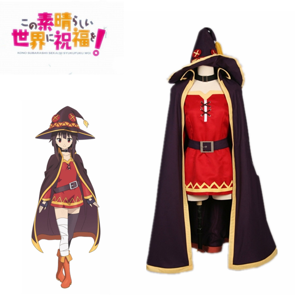 KonoSuba God's Blessing On This Wonderful World Megumin Cloak Dress Uniform Outfit Anime Halloween Cosplay Costumes