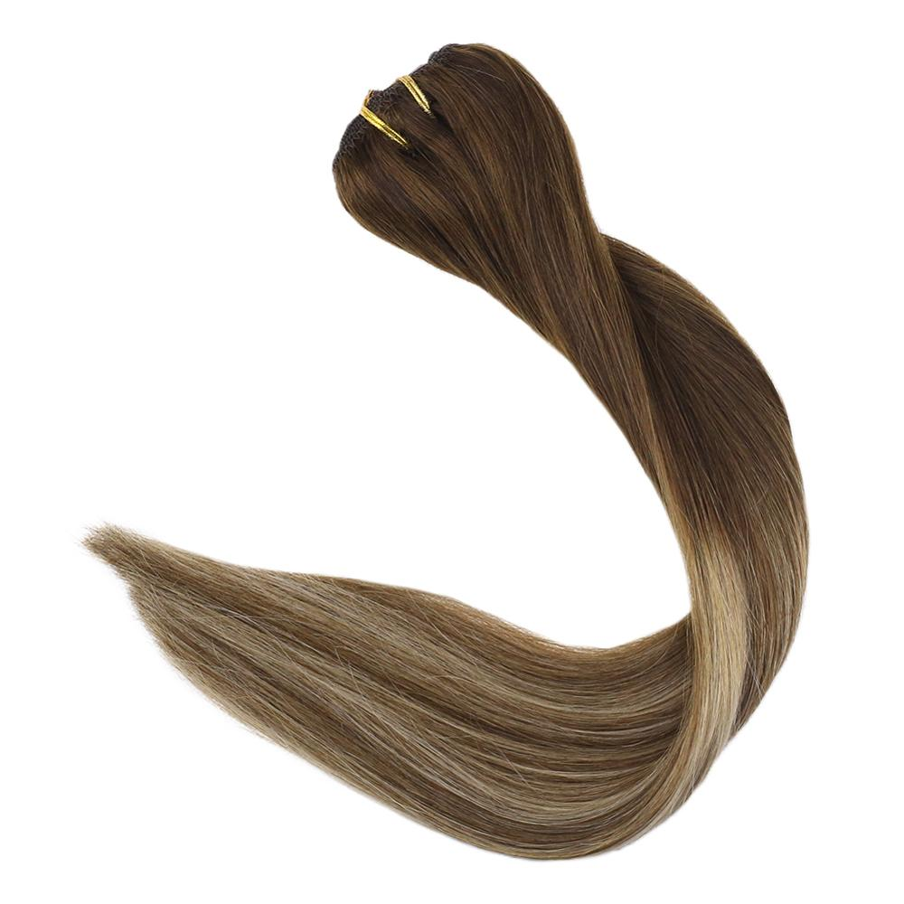 Full Shine 9Pcs Double Weft Clip In Hair Extensions 120g Remy Human Hair Extension Highlight Color #3t14p6 Blonde Clip In Hair