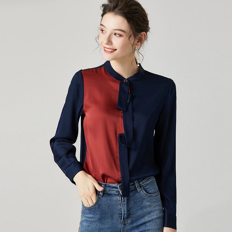 Blusa de seda de calidad superior camisa 2020 estilo primavera mujer bloque de Color Patchwork manga larga marrón blanco elegante camisas de trabajo femenino - 2