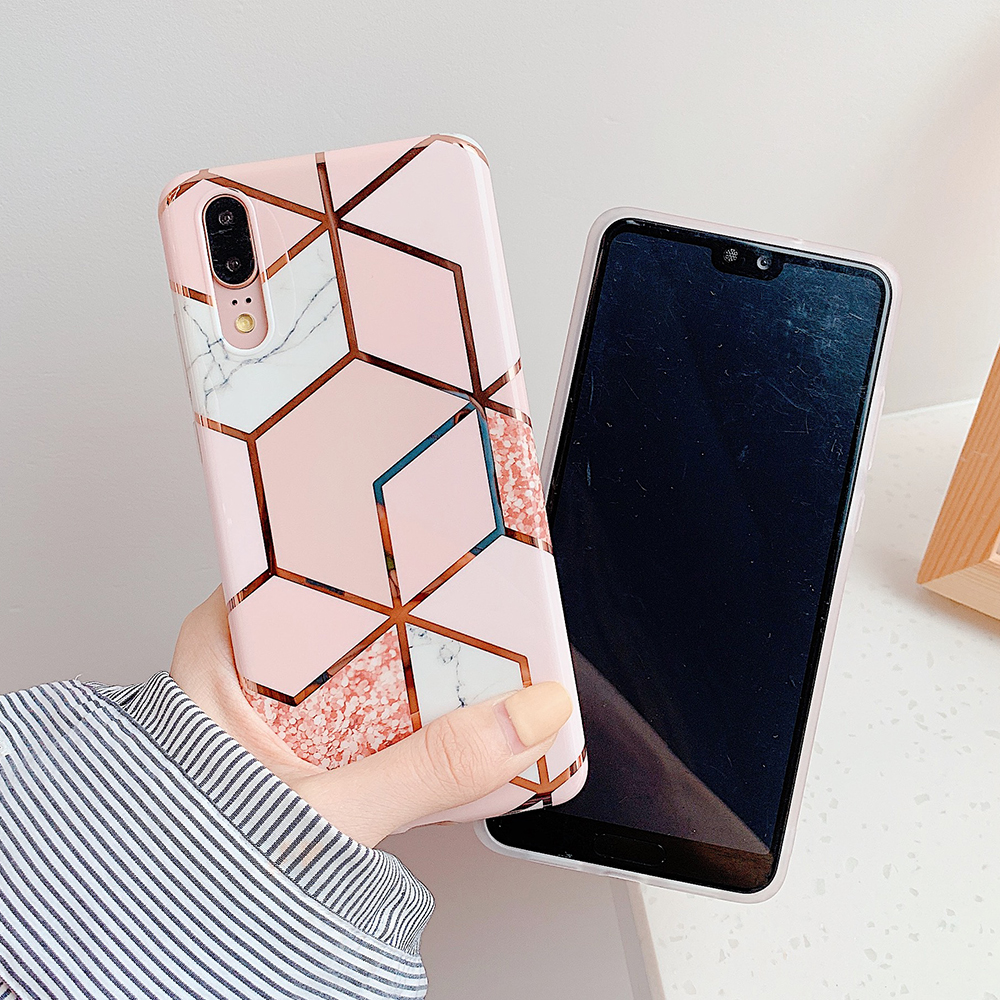H43b4e4ea635041bea77389e3eecd1a56O - LOVECOM Plating Geometric Marble Phone Case For Huawei P40 Pro P30 P20 Lite Pro Mate 30 20 Lite Glossy Soft IMD Phone Back Cover
