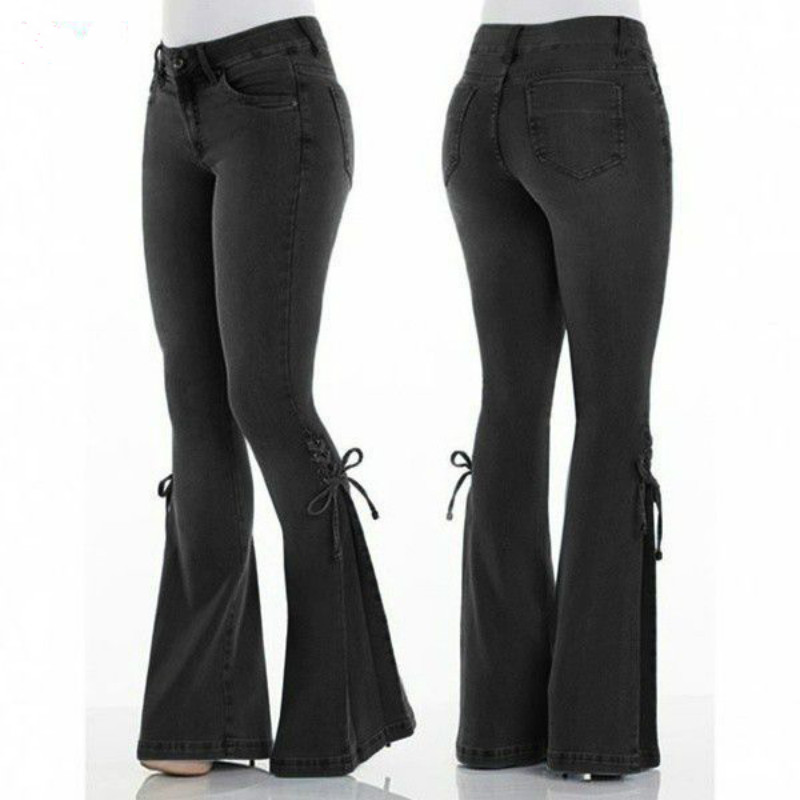 Women High Waist Jeans Full Length Flare Pants Denim Cloth-Fitting Light Blue and black Trousers for Women image