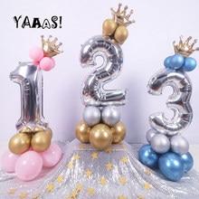 32 Polegada coroa vertical número balão folha de alumínio hélio azul rosa prata rosa ouro balões gigantes aniversário decoração da festa de casamento