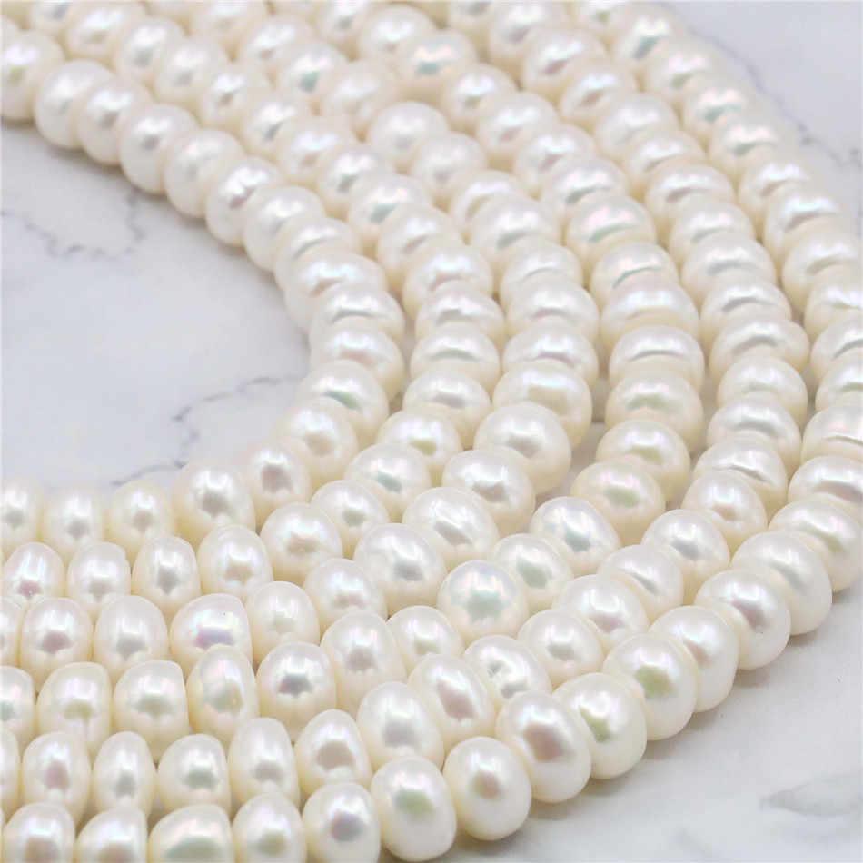 6X8 มม.สีขาวน้ำเค็ม AKOYA เพิร์ลลูกปัดอุปกรณ์เสริมสำหรับสร้อยคอสร้อยข้อมือ 14 นิ้วแฟชั่นเครื่องประดับการออกแบบ AAA