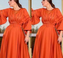 Женское вечернее платье с длинным рукавом оранжевое длинное