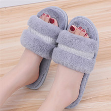 Women's Winter Home Slippers Non-slip Warm Indoors Bedroom Floor Shoes Plush Furry Slides Flats Plush Fluffy slippers kapcie A40(China)