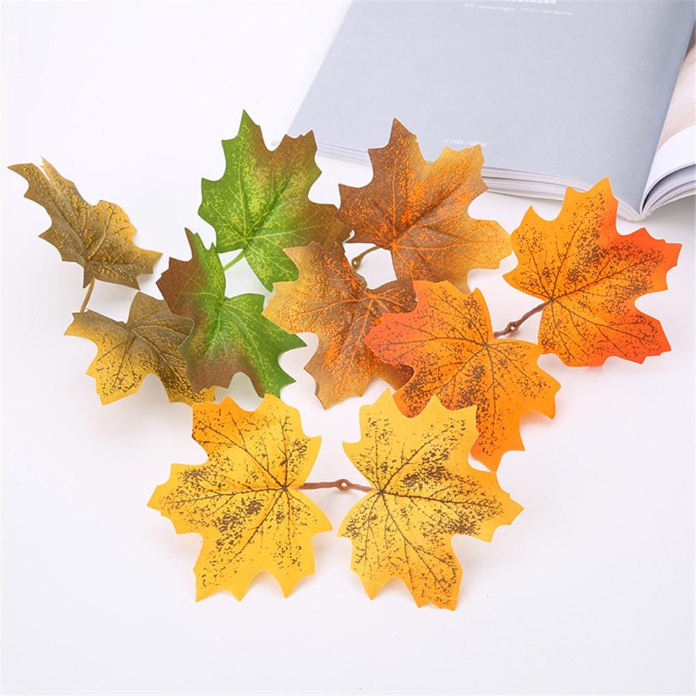 10 pçs folhas de bordo artificiais para decoração de natal outono folha falsa para decoração de casamento artesanato dia de ação de graças decoração para casa