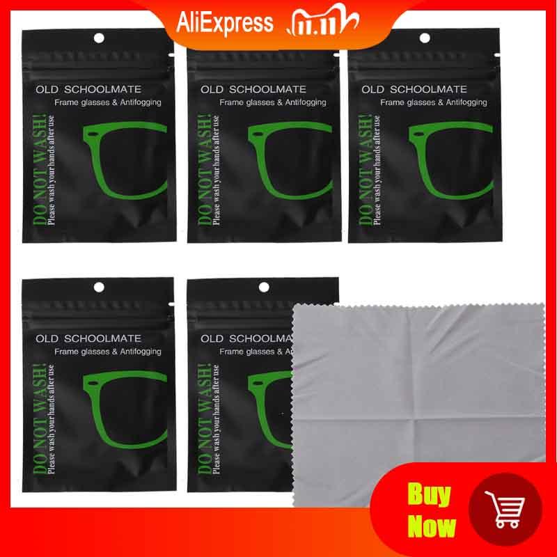 5Pcs Reusable Anti Fog Wipes Glasses Pre moistened Antifog Lens Cloth Defogger Eyeglass Wipe Prevent Fogging for Glasses