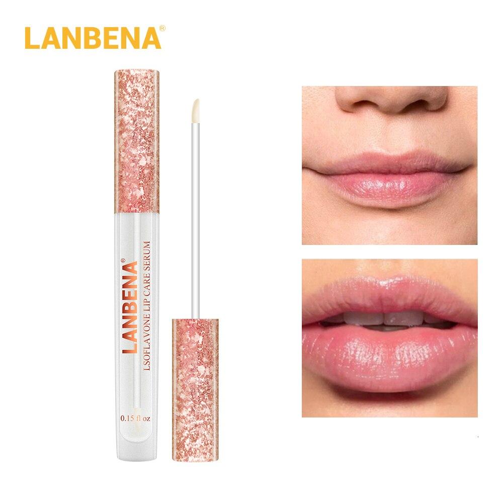 LANBENA cuidado de los labios suero ácido hialurónico bálsamo labial reparación hidratante labio Plumper aumenta la elasticidad lustre alivia las líneas de labios