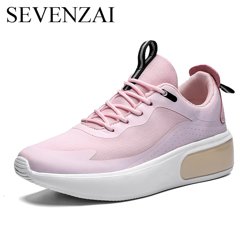 Wedge Women Shoes Fashion Pink High Heel Sneaker Platform Ladies Moccasins Korean Light Dress Leisure Vulcanize Shoes For Women
