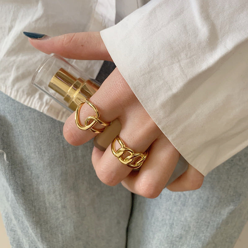 XIYANIKE 925 en argent Sterling mode à la mode exagérée chaîne croix anneau femme Cool Design Index doigt à la main bijoux cadeau 2