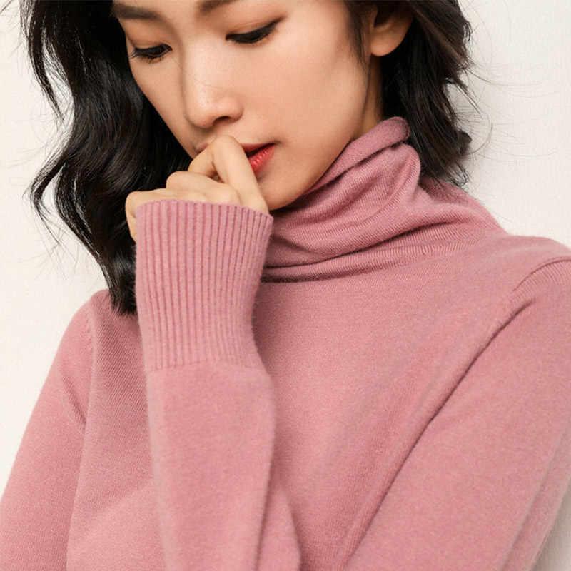 가을 겨울 캐시미어 터틀넥 풀오버 여성 한국어 긴 소매 슬림 스웨터 여성 2019 새로운 당겨 스웨터 숙녀 풀오버