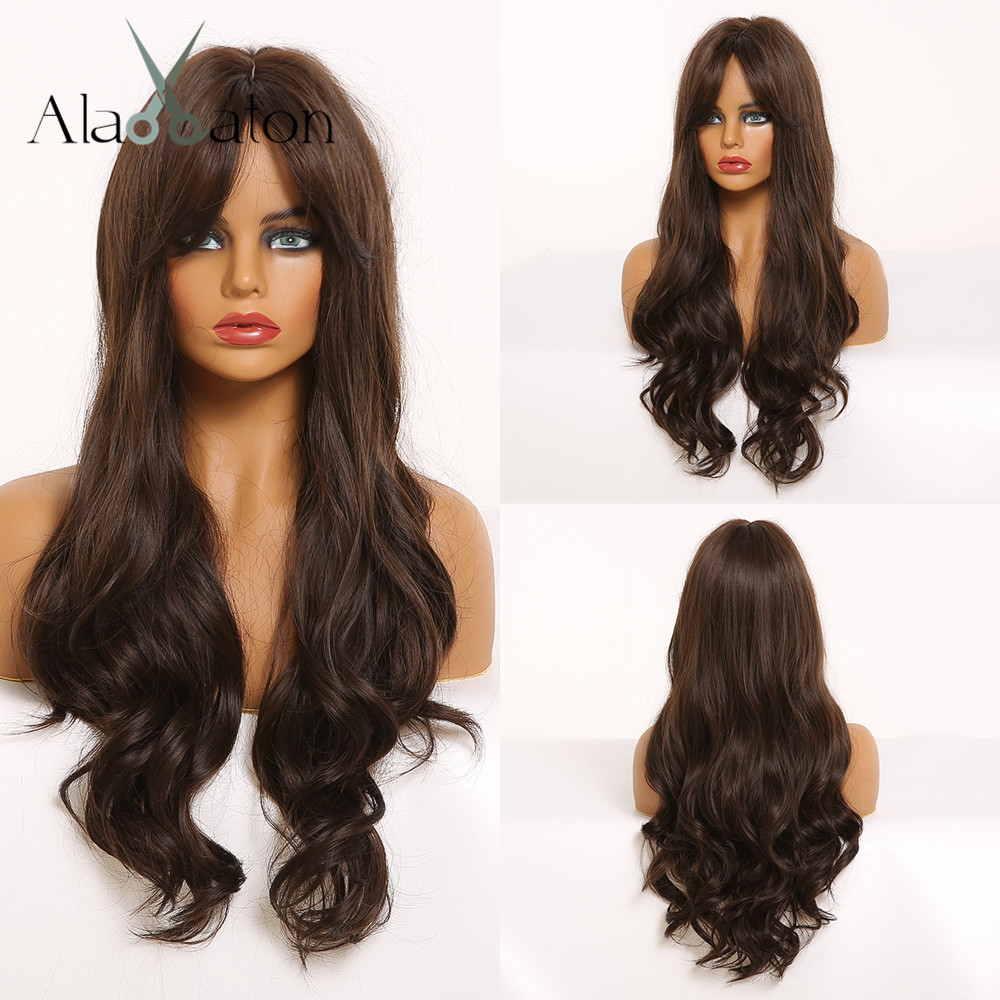 ALAN EATON Long Wavy Wigs For Black Women African American Synthetic Hair Black Brown Wigs With Bangs Cosplay Heat Resistant Wig