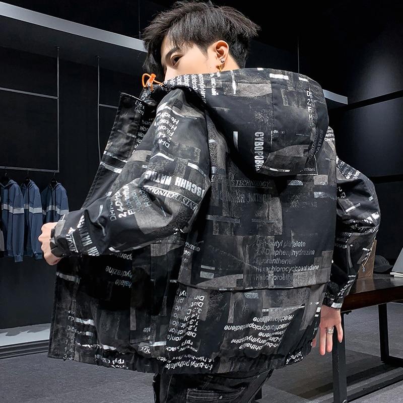 Coat Men Spring Autumn 2020 New Fashion Korean Version Hooded Jacket Casual Male Printed Hip Hop Windbreaker Jacket Streetwear