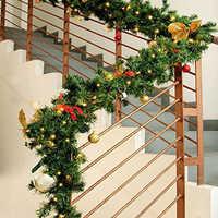 2,7 м искусственная зеленая Рождественская гирлянда, венок, вечерние рождественские украшения, подвесное из ротанга, подвеска и висячий орна...