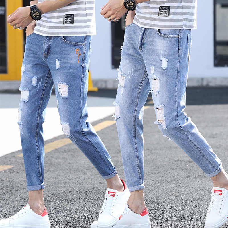 Jeans Rotos De Nueve Puntos De Moda Para Hombres De Marca Delgada Bajo Ajustado Pantalones Largos De Mendigo Jean De Moda Para Hombres Pantalones Vaqueros Aliexpress