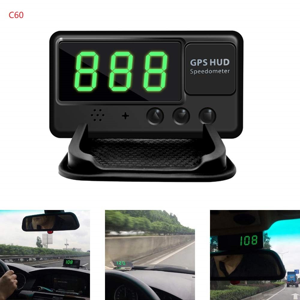 HUD Universal <font><b>GPS</b></font> Speedometer Odometer Digital Speed Display MPH Over Speed Alarm Clock for All Vehicles <font><b>C60</b></font> C60S image