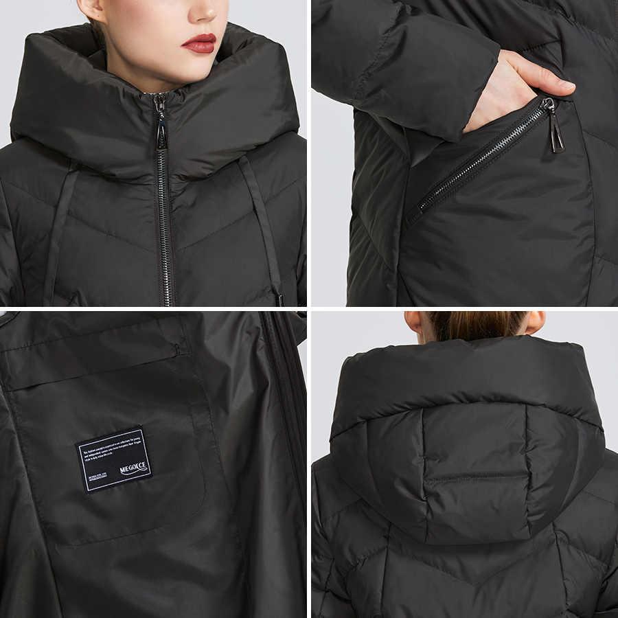 MIEGOFCE 2019 nowa długa zimowa damska kurtka płaszcz pogrubienie wiatroszczelna damska parki moda kobiety Bio dół kurtki parki