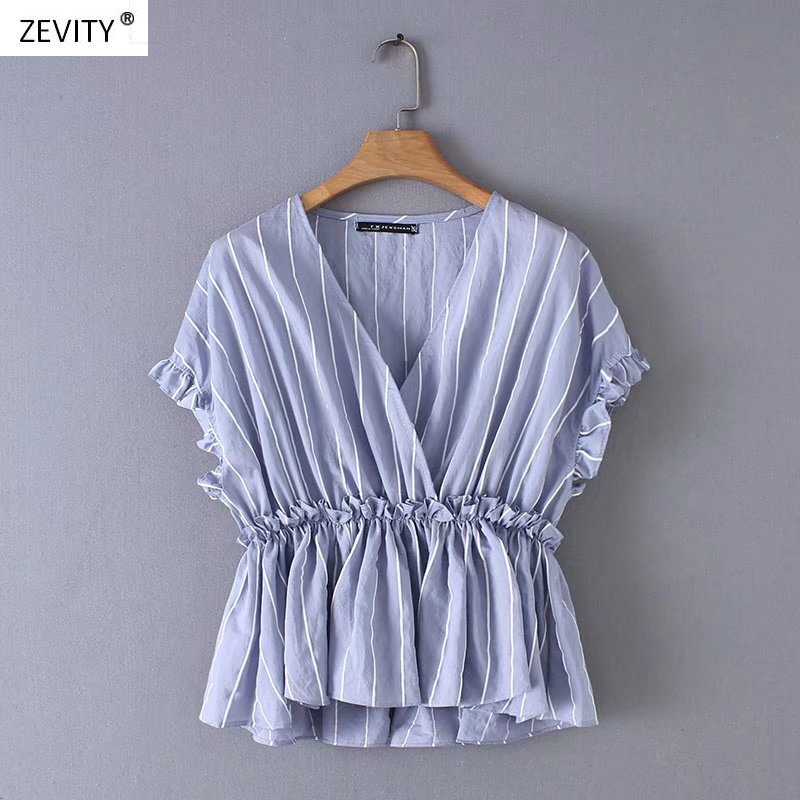 2019 Women Fashion Agaric Lace Striped Blouse Shirts Women Cross V Neck Ruffles Chemise Chic Casual Femininas Blusas Tops LS3343