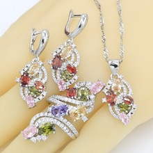 5 Colors Multicolor Blue Purple Stones 925 Sterling Silver Jewelry Sets For Women Pendant Earrings Rings White Green