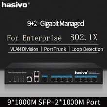 Managed switch Gigabit sfp media converter 9 SFP 2 1000Mbps RJ45 ethernet optical fiber 1 console port