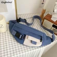 Sac banane en toile pour femme, sacoche fonctionnelle pour téléphone portable, sac banane, Cargo, Harajuku, mode Ulzzang quotidien