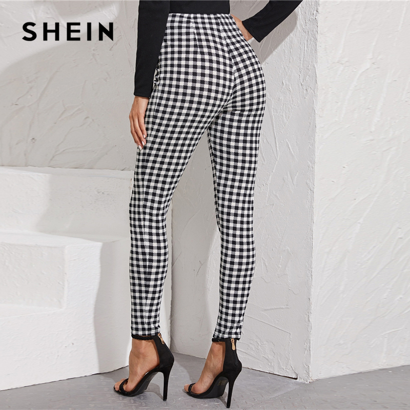 SHEIN Black And White Zipper Front Gingham Print Skinny Preppy Pants Women Autumn Streetwear Ladies Basic Long Stretchy Trousers 2