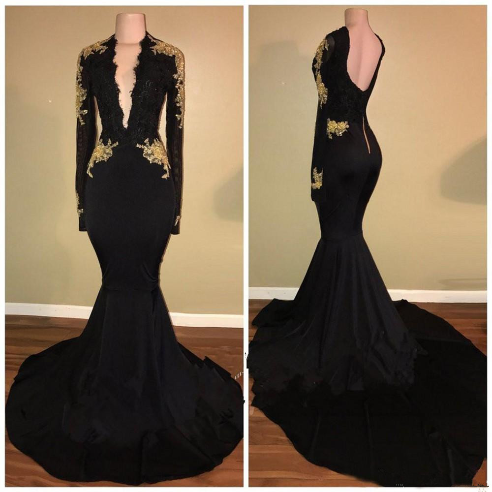Black   Prom     Dress   2019 Mermaid Deep V-neck Long Sleeves Appliques Backless Women Long   Prom   Gown Evening   Dresses   Robe De Soiree