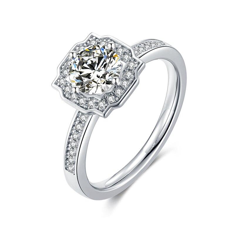 Plaqué or blanc 925 argent couleur pierre principale 1ct 6.5mm Moissanites côté pierre cubique zircone anneau bijoux