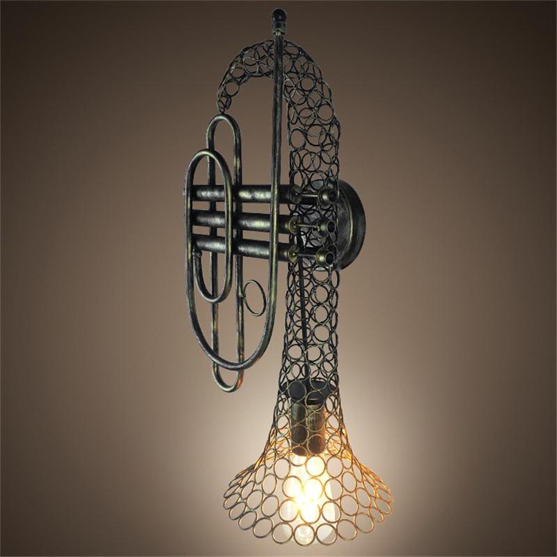 Américain rétro musique fer Luminaires muraux décor à la maison doré trompette applique café Restaurant industriel décor Luminaires