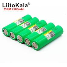 LiitoKala بطارية تفريغ عالية الطاقة قابلة لإعادة الشحن ، بطارية أصلية 100% ، 25RM ، 18650 ، 2500 مللي أمبير ، INR18650 ، 25R ، 20 أمبير
