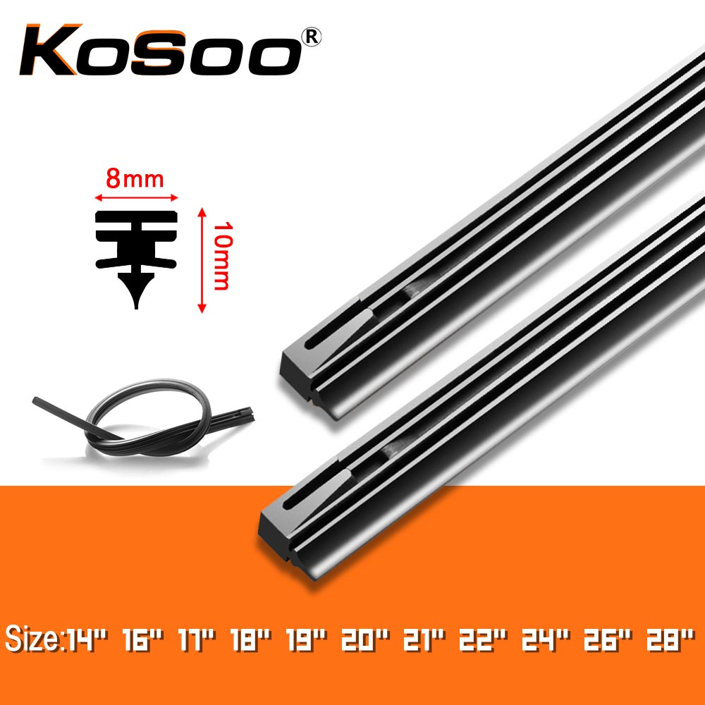 "KOSOO 1PCS Car Wiper Blade Windscreen Natural Rubber Replacement Strip 8MM 14""16""17""18""19""20""21""22""24""26""28"" Auto Accessories