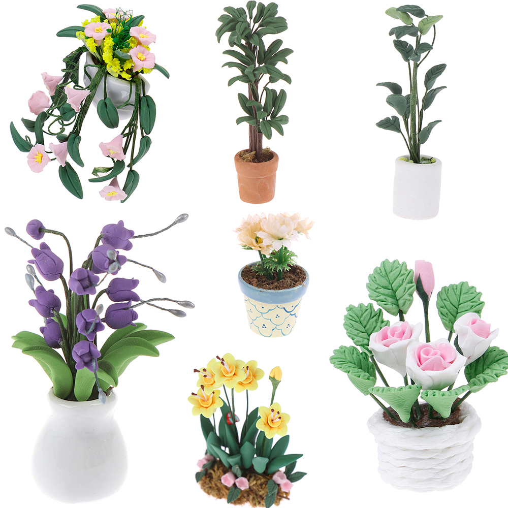 1:12 Doll House miniature potted plant flowers pot dollHouse decor bonsai model
